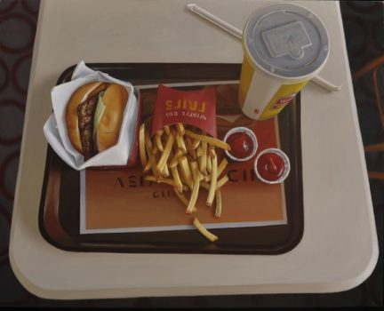 Aerial view Oil Painting by Marc Trujillo of a fast food hamburger, fries, two ketchups, and a drink on a tray on a small white table