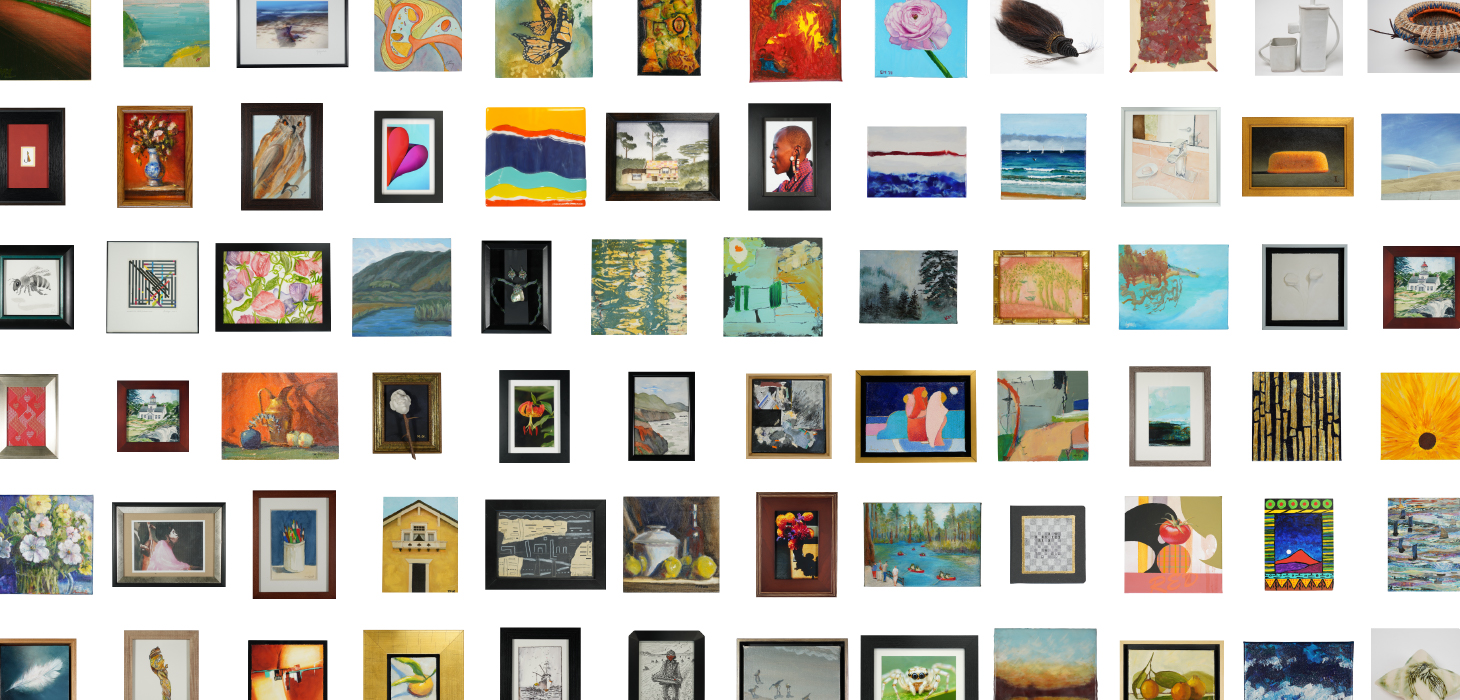 A variety of thumbnail images of Miniatures 2020 artwork submissions.