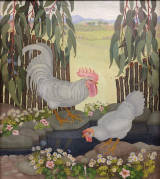 This large decorative oil painting is pleasing to the eye in so many ways. The stylized birds stand among flowers that look like they could have escaped from a mille-fleurs French tapestry. The fenceposts follow the angles of the chickens and create a barrier, along with the Eucalyptus leaves from above, between the shadowed foreground and the sunny landscape in the distance. The colors reflect those of an art nouveau palette.